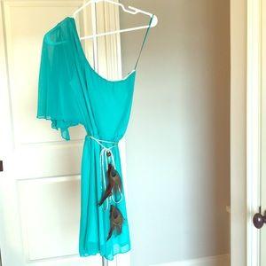 One shoulder dress with peacock belt